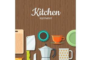 Vector kitchen utensils flat icons