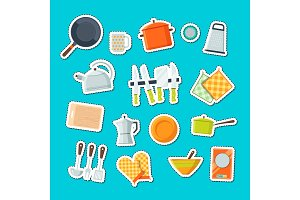 Vector utensils flat icons stickers