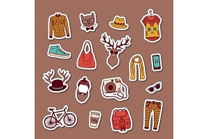 Vector hipster doodle icons stickers