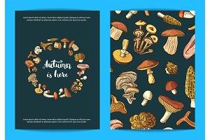 Vector hand drawn mushrooms card