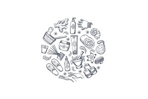 Vector hand drawn spa elements in