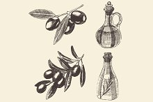 Olive branches and olive oil bottles