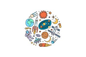Vector hand drawn space elements in
