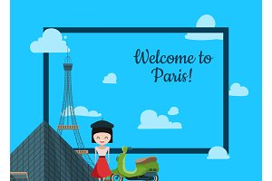 Paris background. Vector cartoon