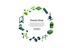 Vector isometric gym. Sport and