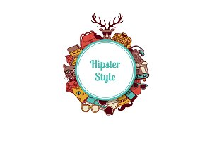 Vector hipster doodle icons circle