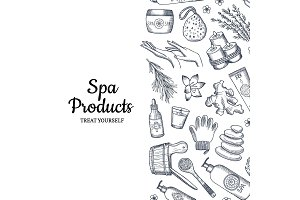 Spa pattern. Vector hand drawn spa