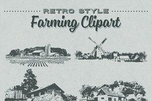 Retro Style Farming Clipart