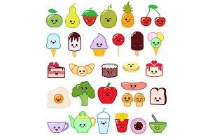 Kawaii food vector emoticon japanese