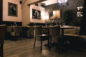 Interior of fancy restaurant