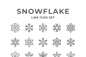 Set line icons of snowflake