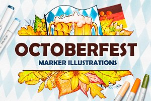 Octoberfest. Marker illustrations
