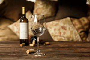 glass of white wine in restaurant