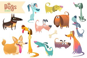 Cartoon dogs set. Vector clipart