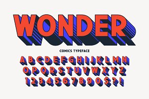 Trendy 3d comical font design
