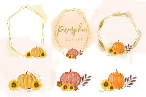 Autumn Graphic Set, Pumpkins Clipart