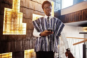 African businessman in traditional c