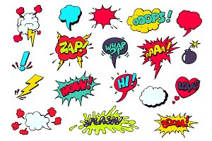 Set of bright  comic  speech bubbles