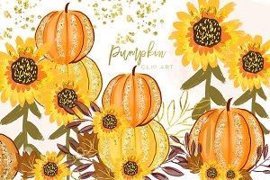 Pumpkin orange watercolor