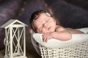 Newborn, child sleeps in a basket