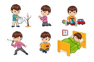 Boy Lifestyle and Leisure Set Vector