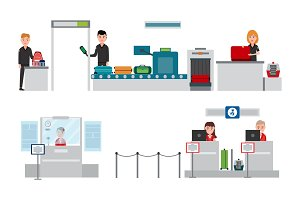 Security and Passport Control Vector