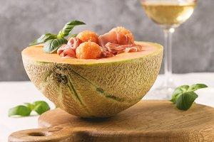Melon and ham salad