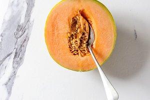 Half of Cantaloupe melon