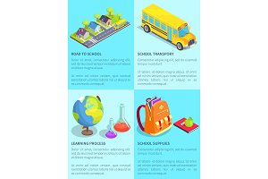 Set of School-Themed Posters with