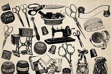 Vintage Textiles Vector Clipart