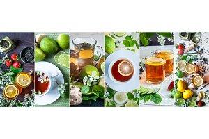Theme of tea, . Black and green  tea