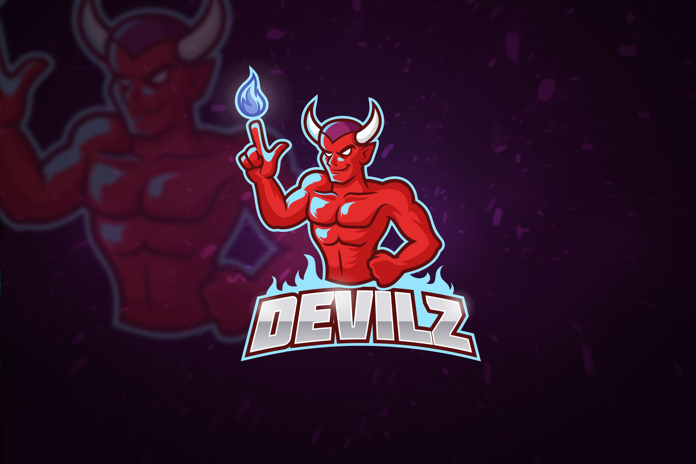 red devil mascot esport logo creative illustrator templates creative market red devil mascot esport logo