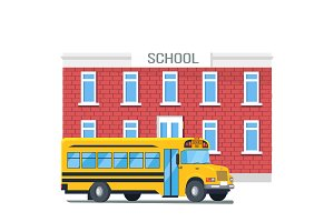 Bus Passing School Isolated Cartoon