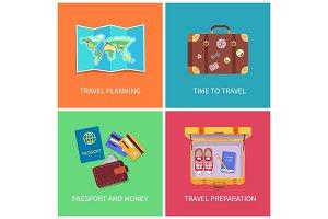Travel Planning Set Poster Vector
