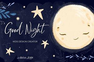 ★ Good night ★ kids design creator