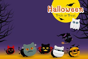 Halloween cats costume banner design
