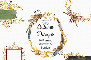 Autumn Designs Watercolor Clip Art