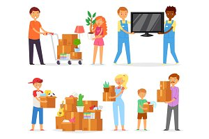 People moving vector family with