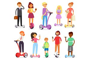 People on hoverboard vector