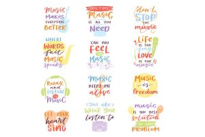 Music lettering vector musical