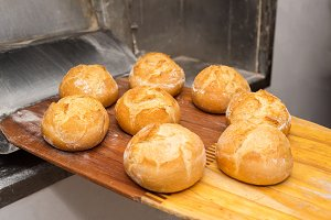 Bread just out from oven. Freshly ba