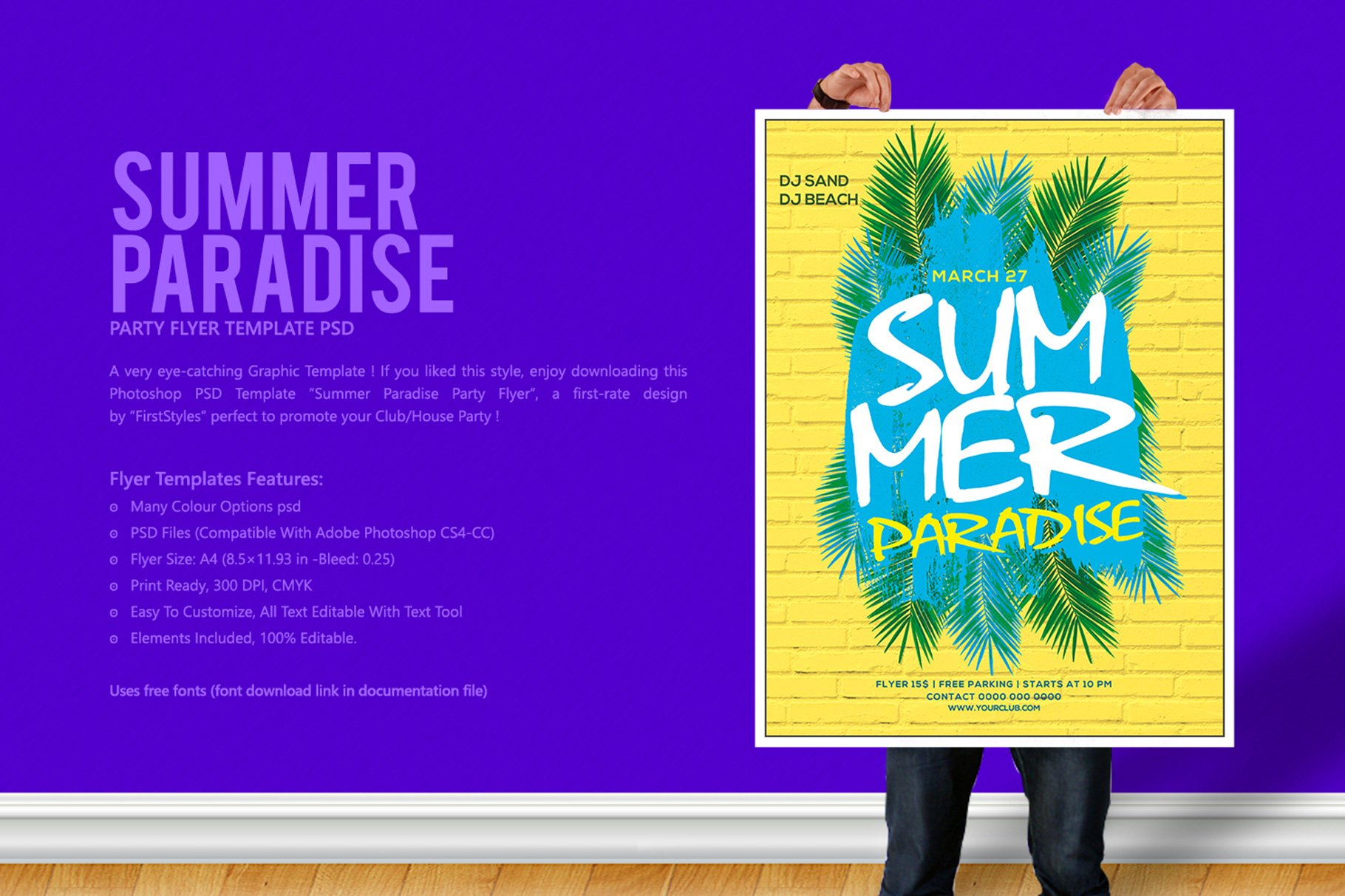 summer paradise party flyer flyer templates creative market