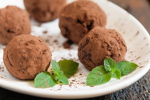 dessert truffles sprinkled with coco