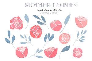 Summer peonies clip art
