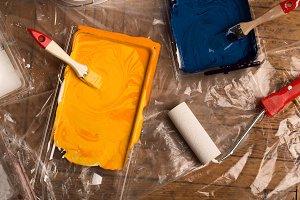 paint roller brush palette