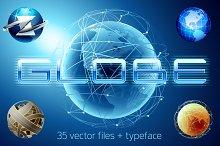 Globe vector bundle 35 + alphabet