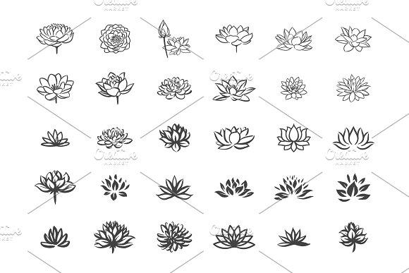 Lotus flower icon set icons creative market lotus flower icon set icons mightylinksfo