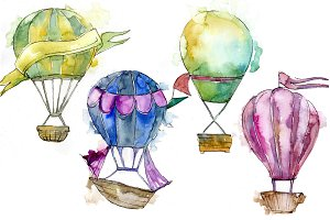 Watercolor holiday hot air balloon