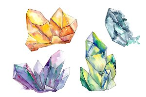 Aquarelle colorful geometric crystal