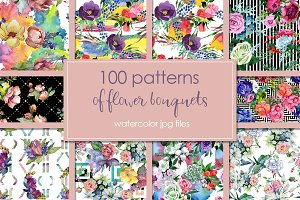 100 patterns of flower bouquets JPG